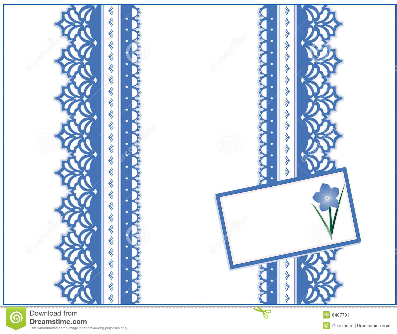 Blue lace gift box forget me not gift card stock image