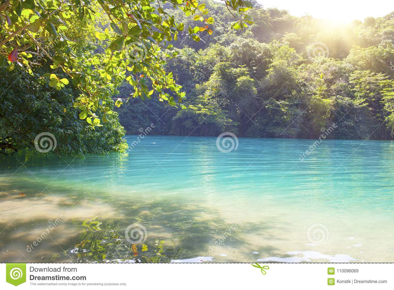Blue Lagoon On Jamaica In Sunny Day Stock Image Image Of