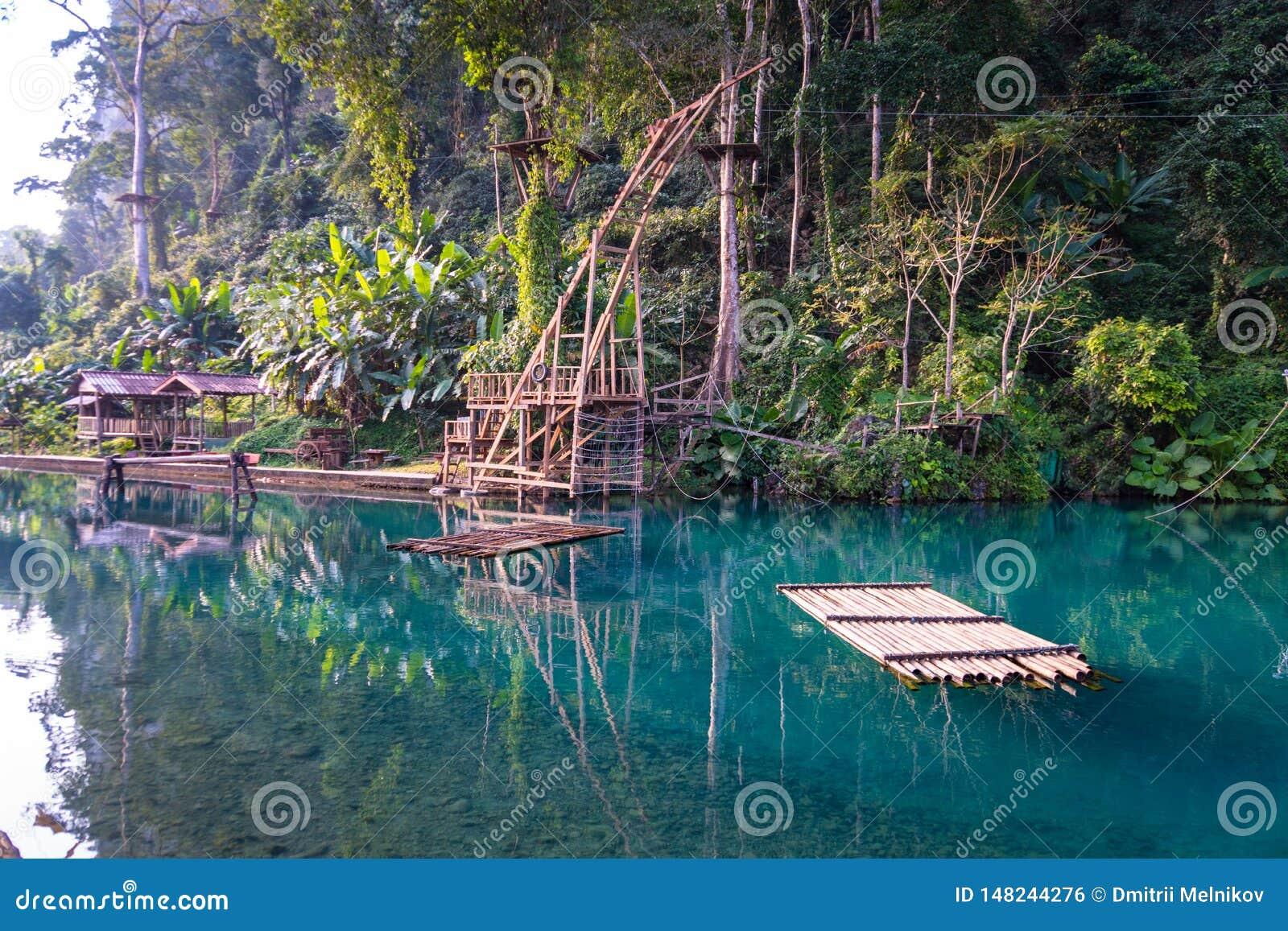 Blue Lagoon Vang Vieng Laos Stock Photo Image Of Colorful Recreation 148244276