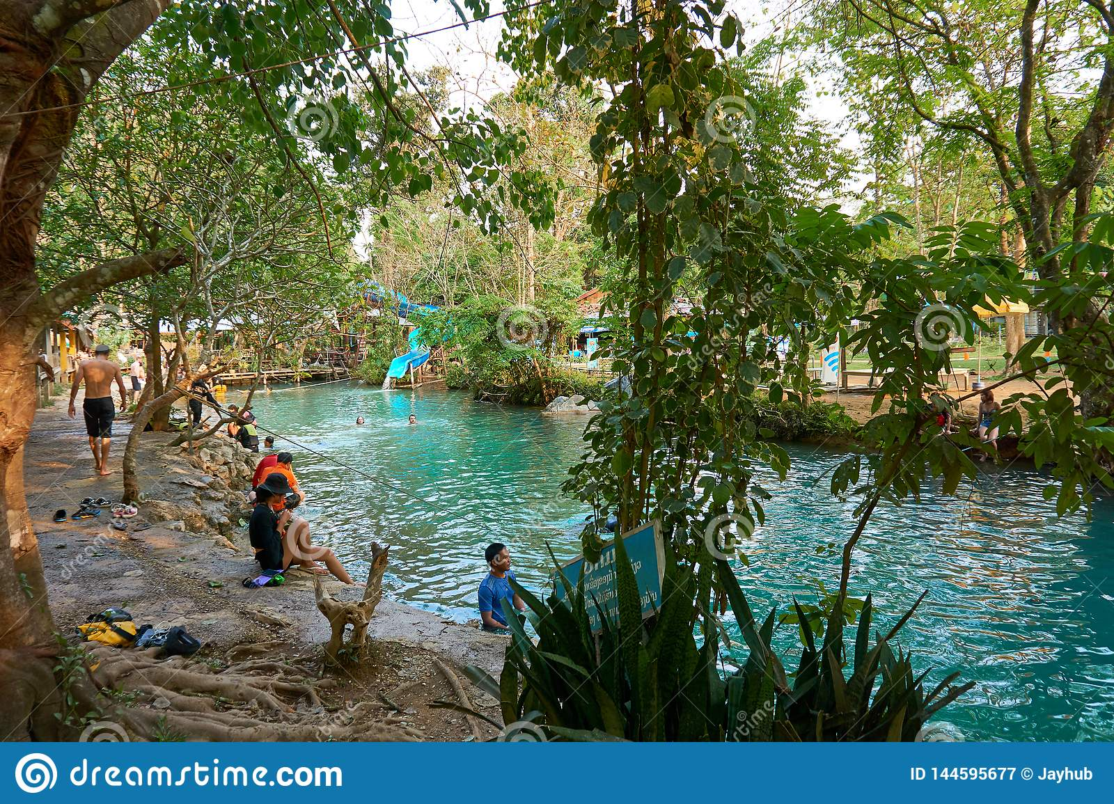 Blue Lagoon In Vang Vieng Laos Famous Travel Destination With Clear Water And Tropical Landscape Editorial Photography Image Of Plant Blue 144595677