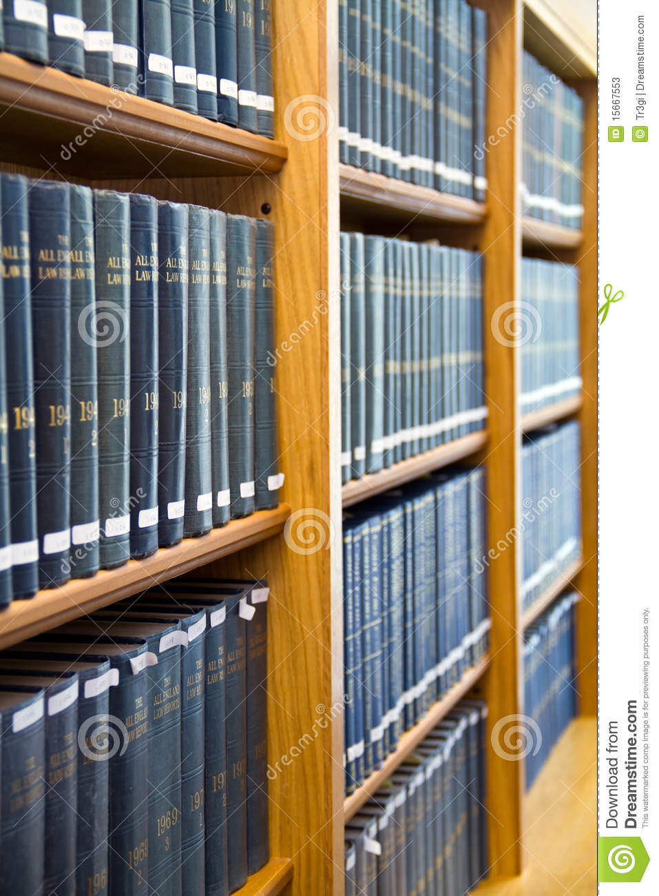 Blue Law Books Stacked On The Bookshelf