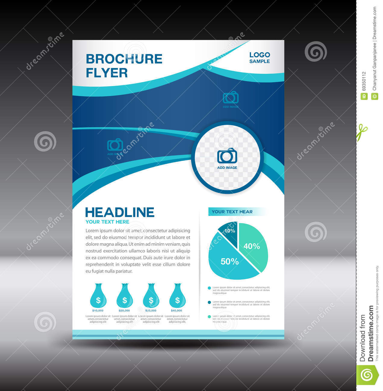 Blue Leaflet Flyer Template And Info Graphics,Brochure Flyer Stock ...
