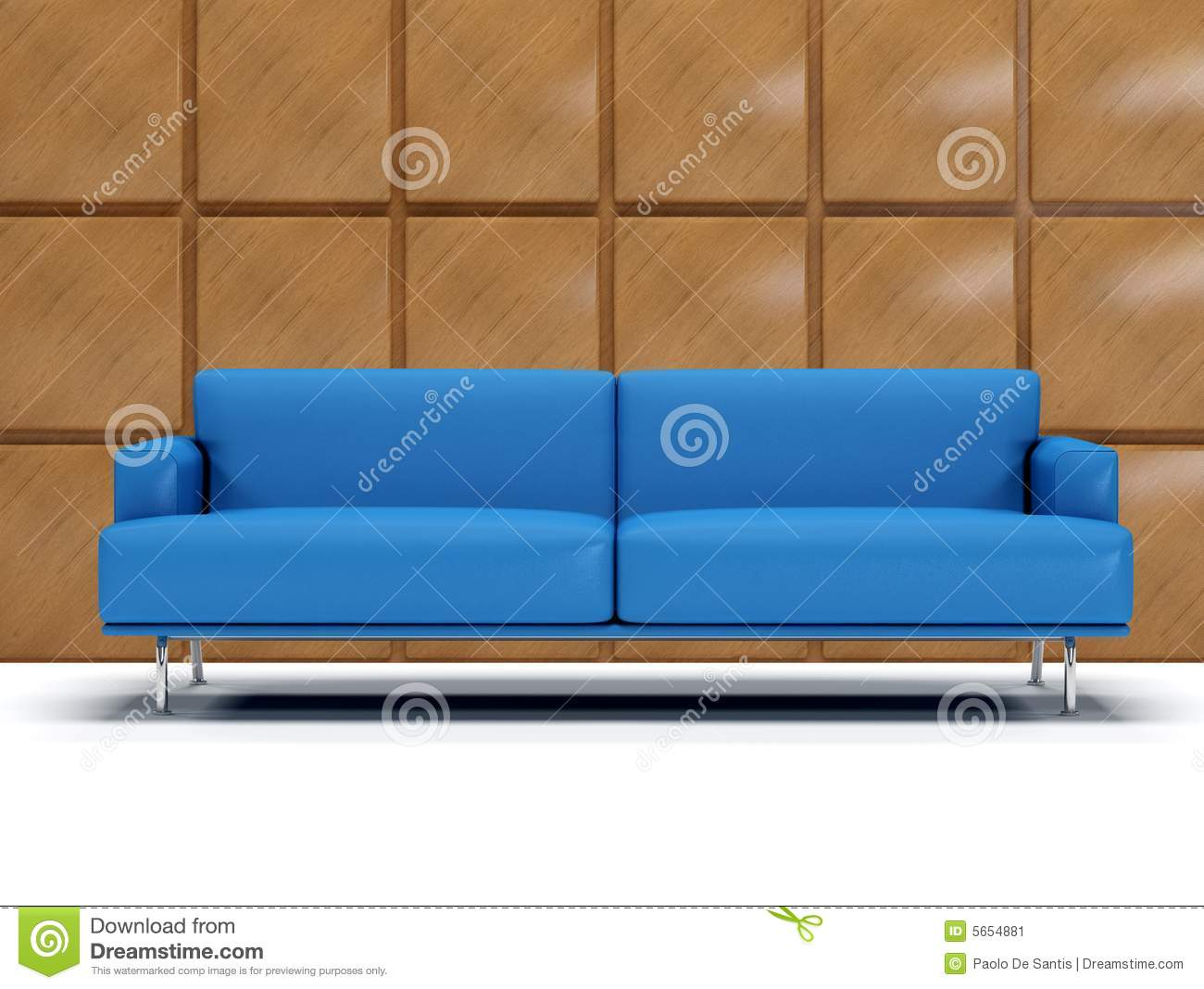 Blue Leather Sofa And Boiserie Stock Image Image