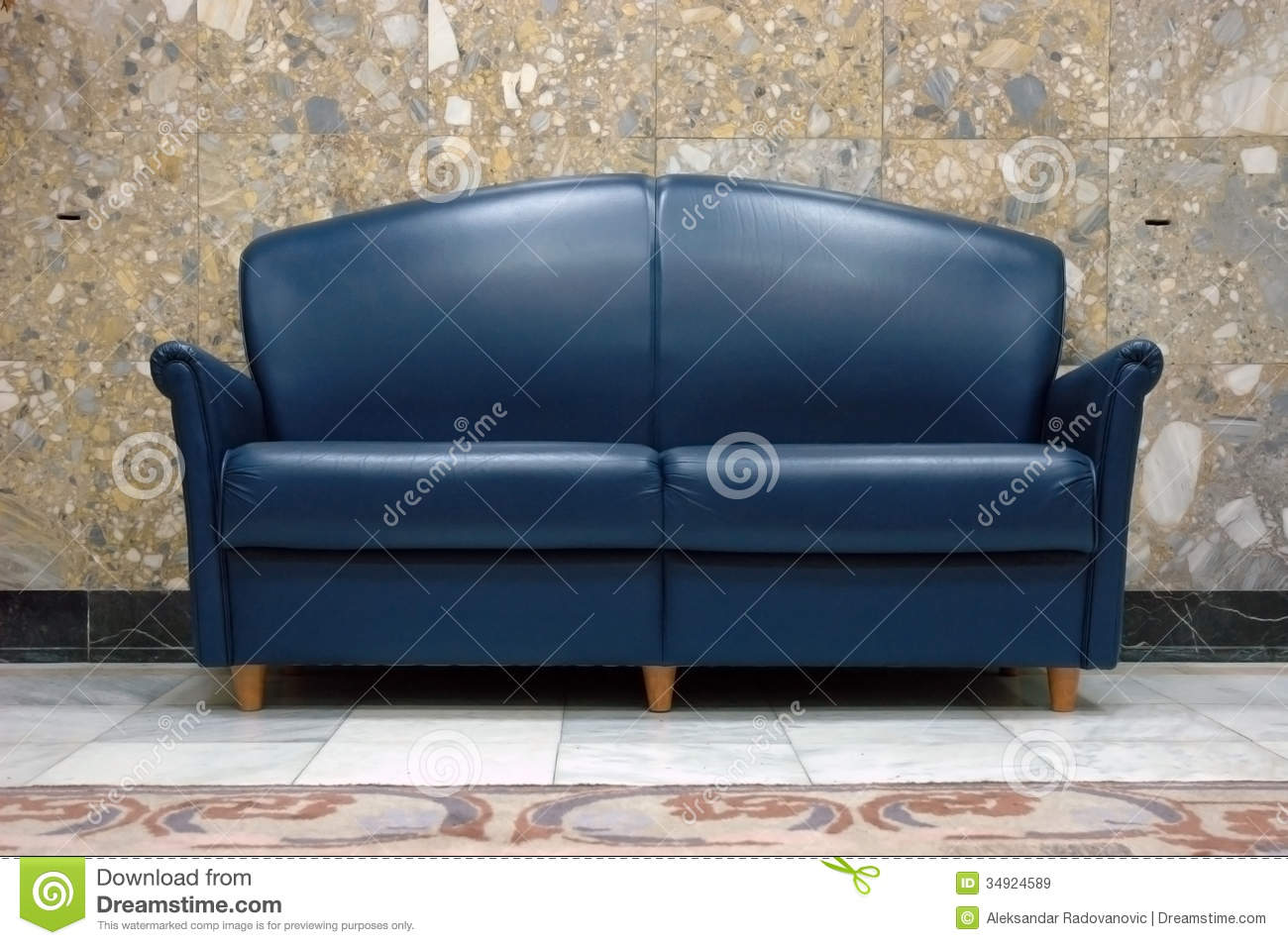 Blue Leather Sofa Stock Image Image Of Room Lifestyle