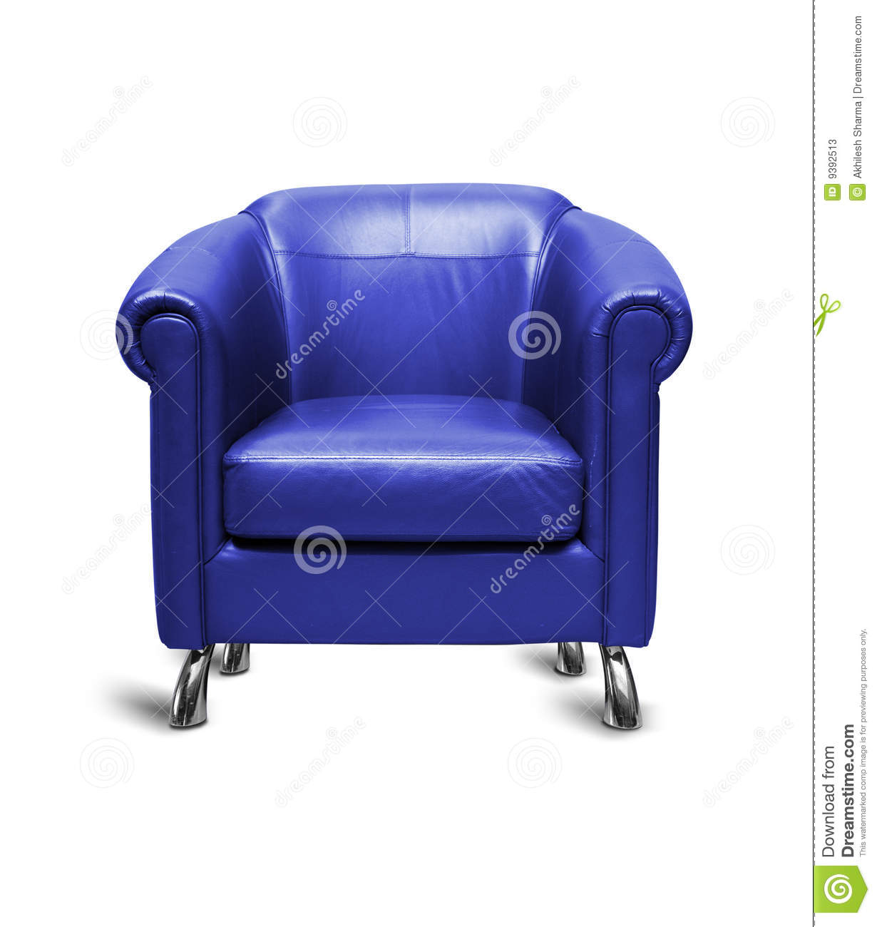 Blue leather sofa in white background