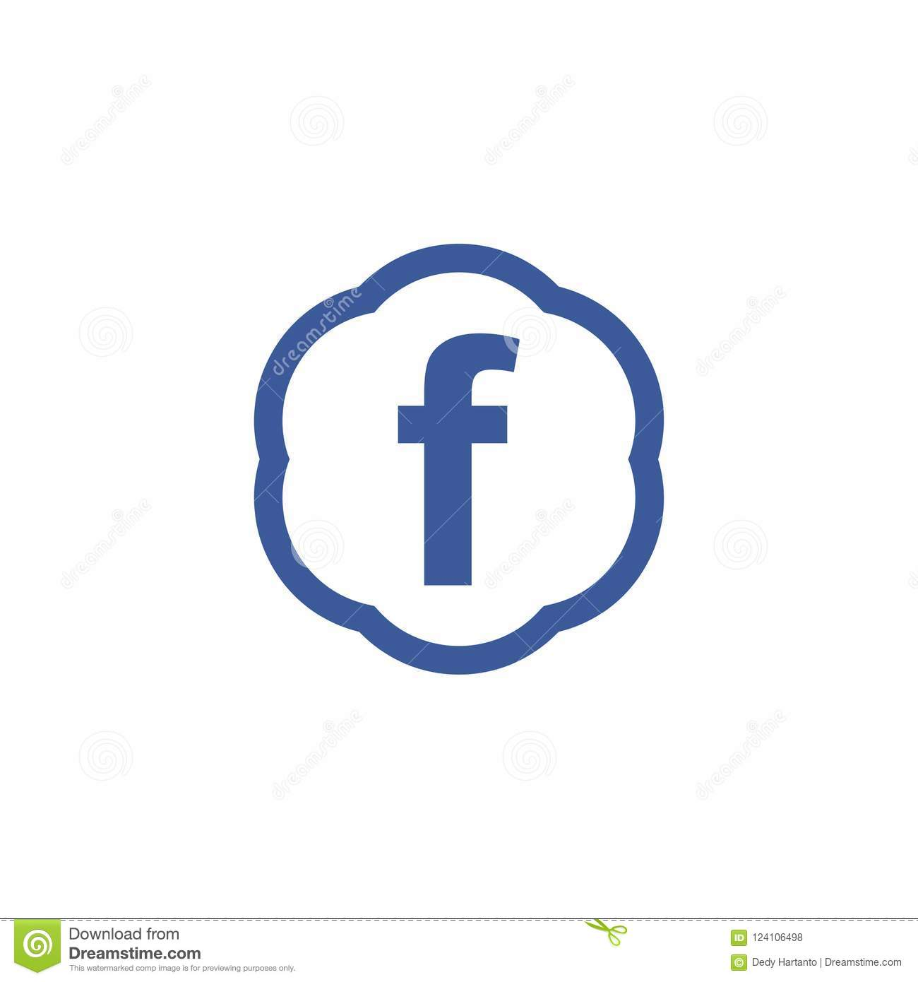 Facebook Icon Letter F Blue Circle Vector Icon Editorial Stock