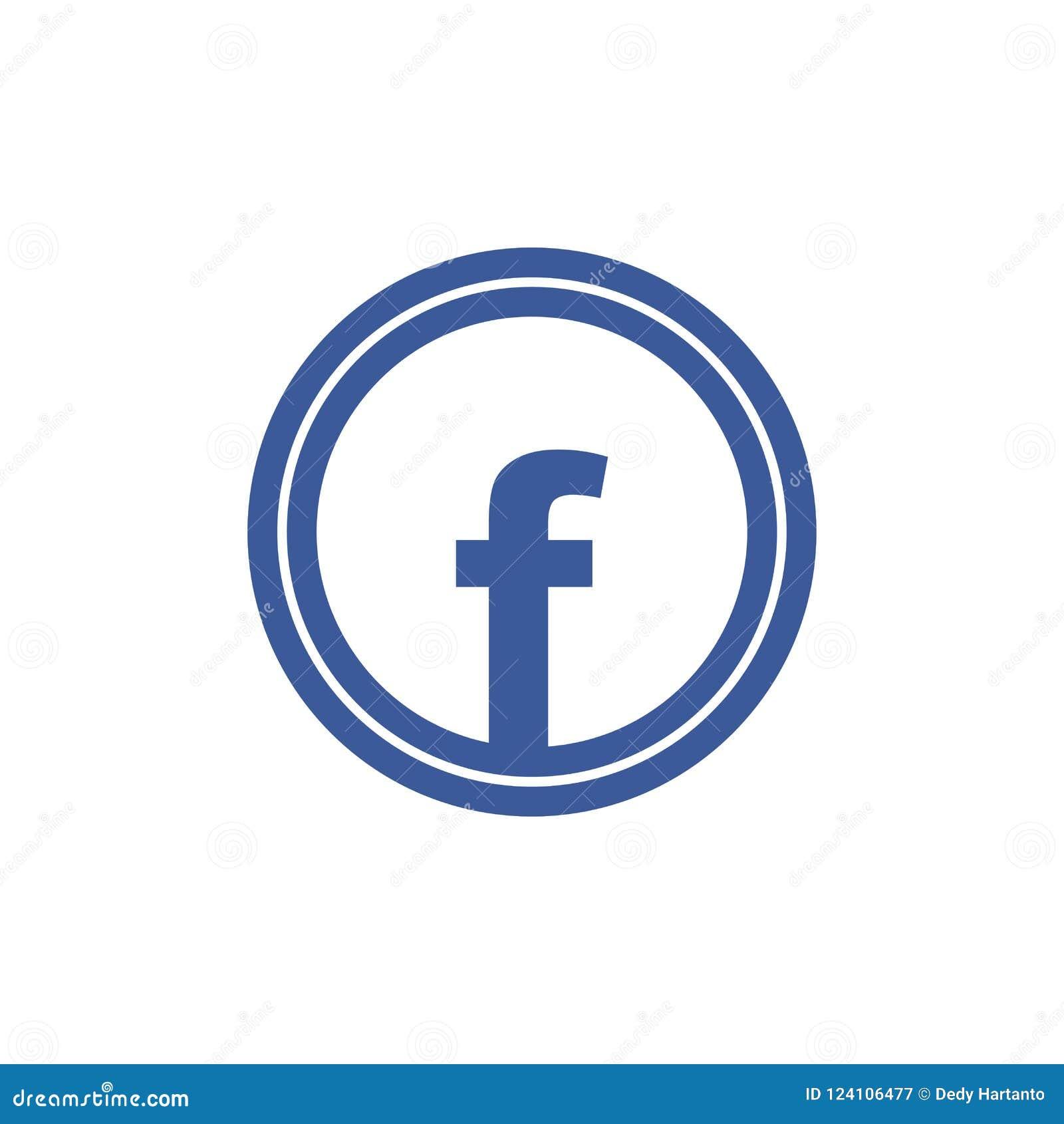 facebook icon letter f blue circle vector icon