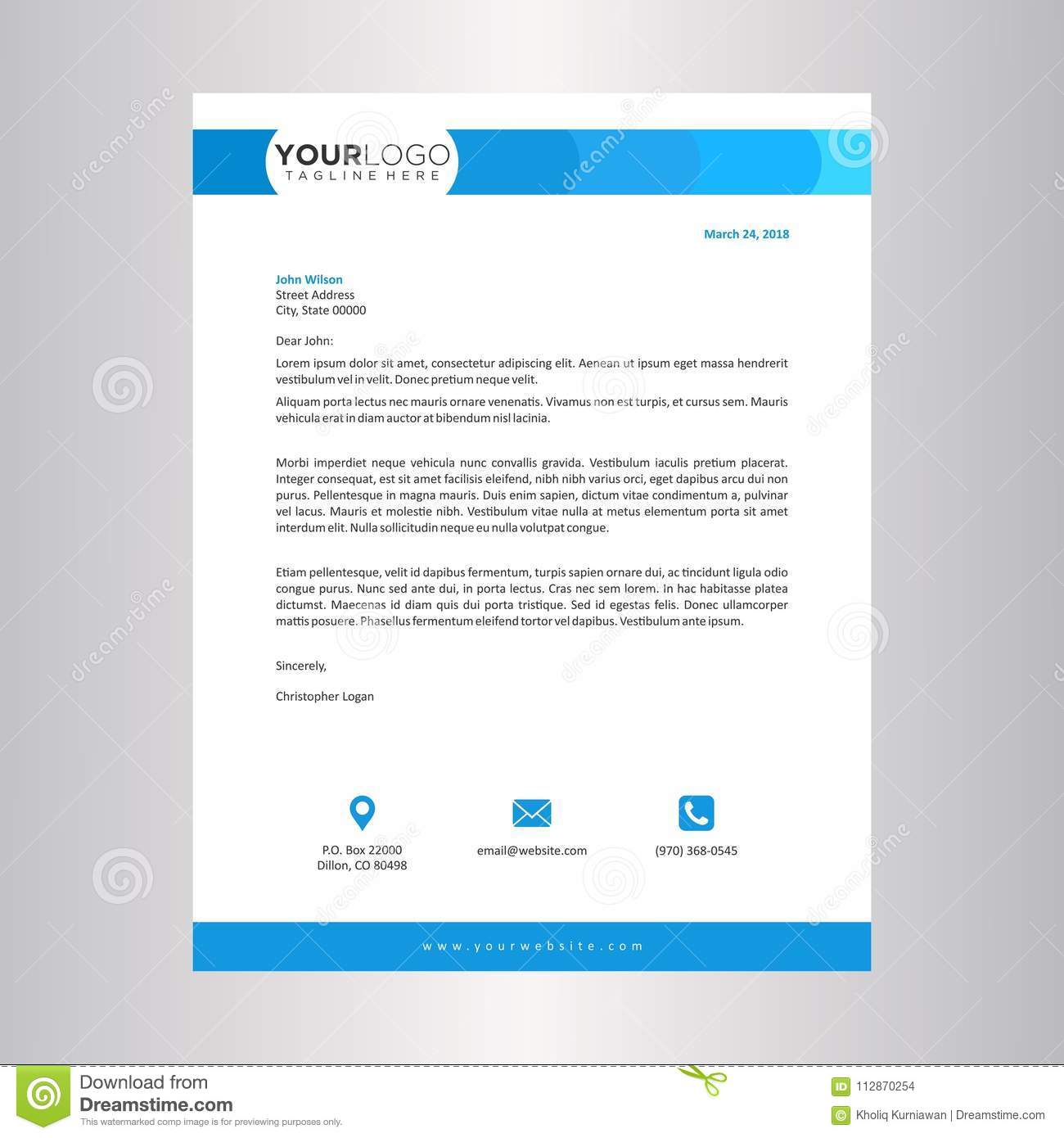 Blue Letterhead Design Template Stock Vector Illustration Of Blank Booklet 112870254