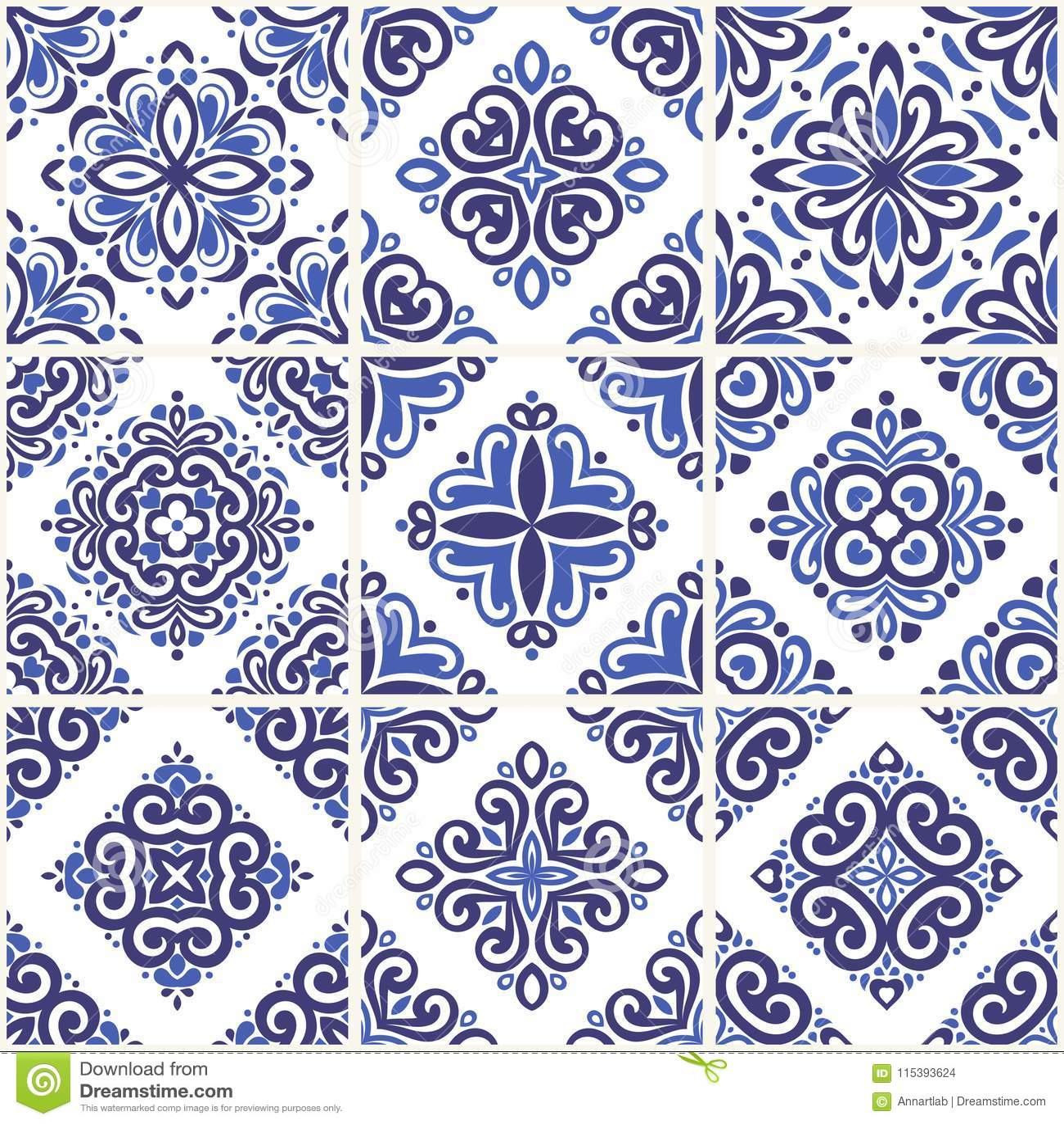 Blue and light blue ornamental azulejos tiles. Vintage decorative ornament illustration.
