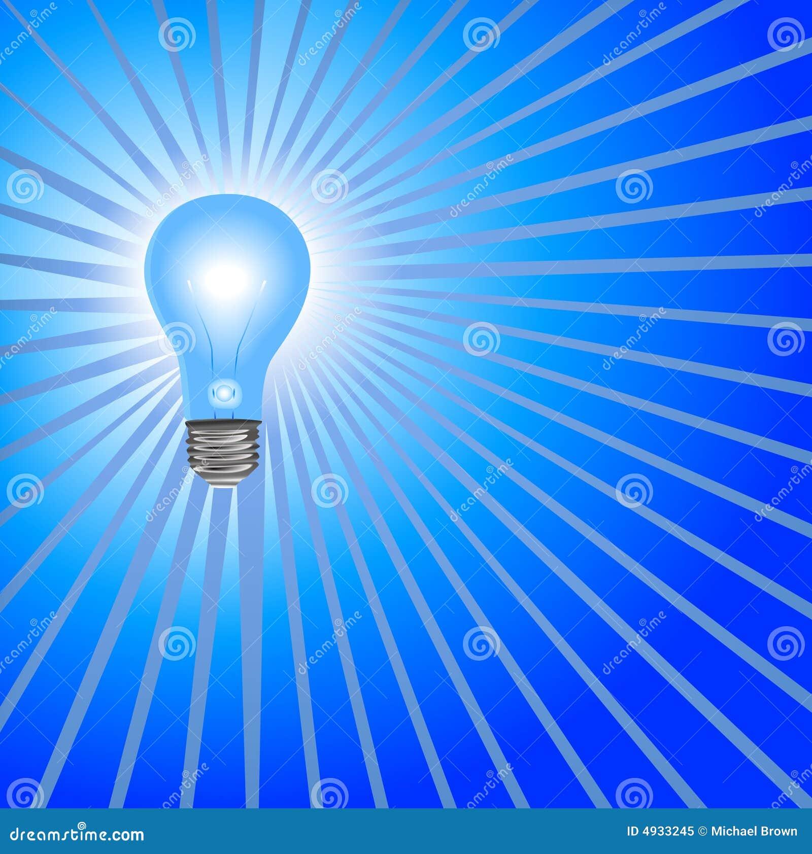 Light Bulb Wallpaper: Blue Light Bulb Background Rays Stock Vector