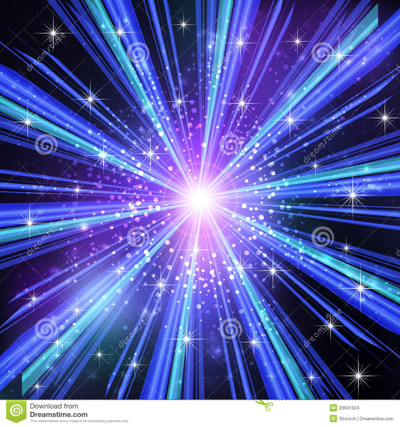 blue light rays with stars stock vector image 23941024