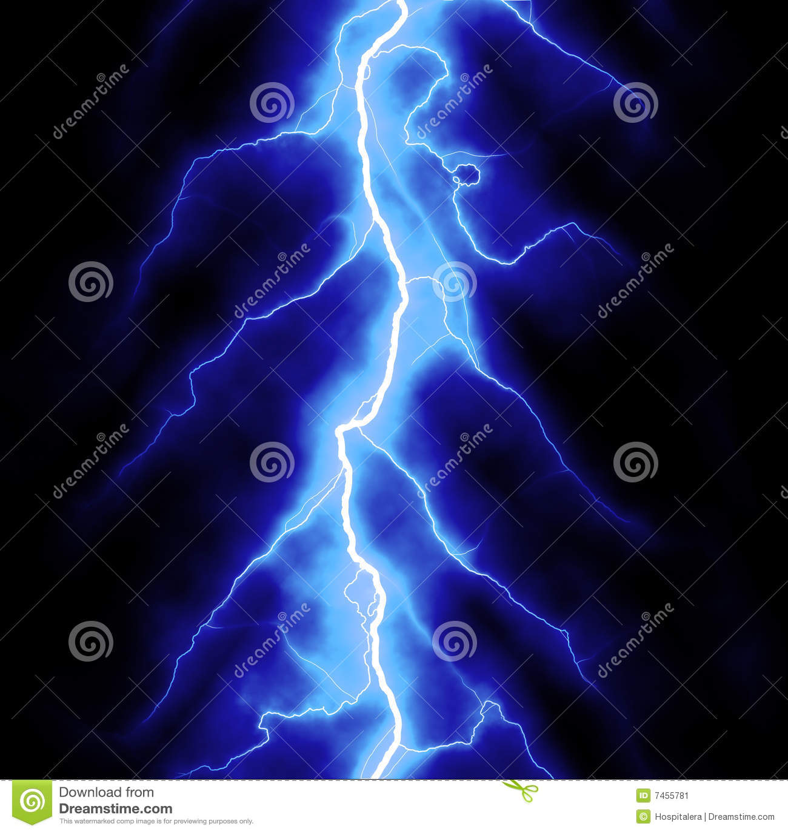 Blue Lightning Stock Image Image 7455781