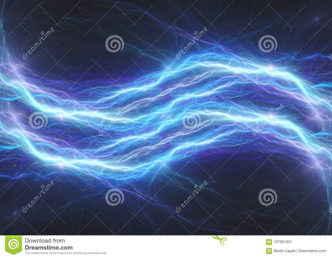 Blue Lightning Bolt Abstract Electrical Plasma Stock Image