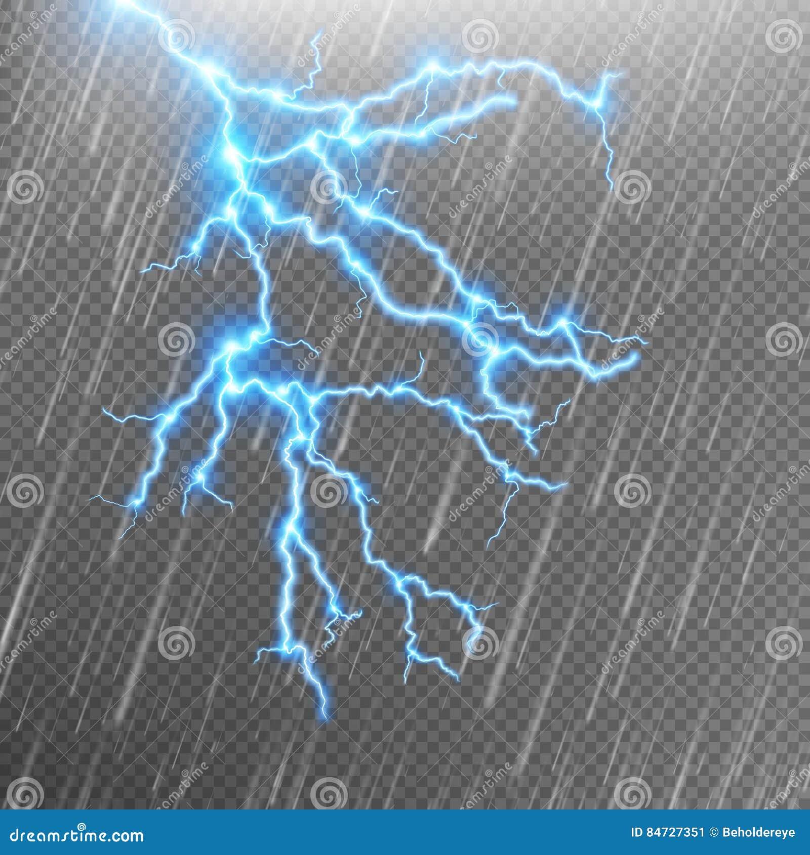 Blue Lightning And Rain Eps 10 Stock Vector