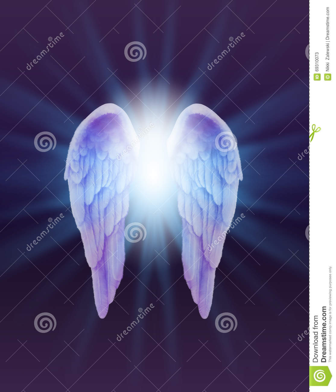 blue and lilac angel wings on a dark background stock