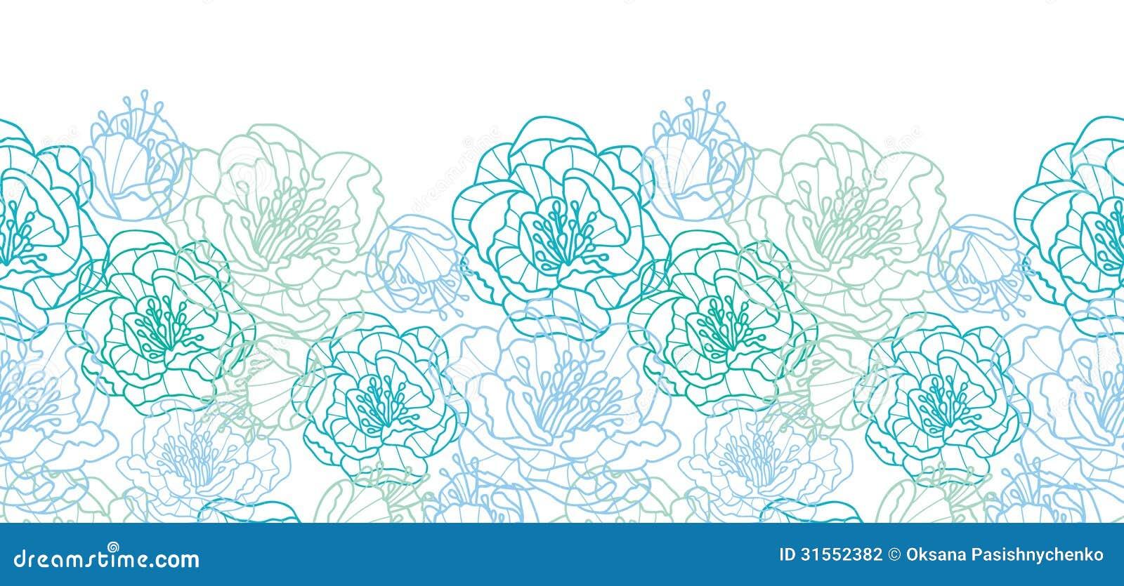 Line Art Flower Background : Blue line art flowers horizontal seamless pattern stock