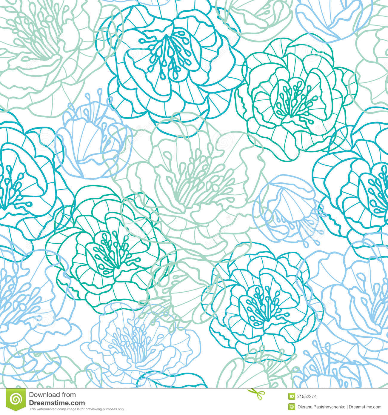 Line Art Background : Blue line art flowers seamless pattern background stock