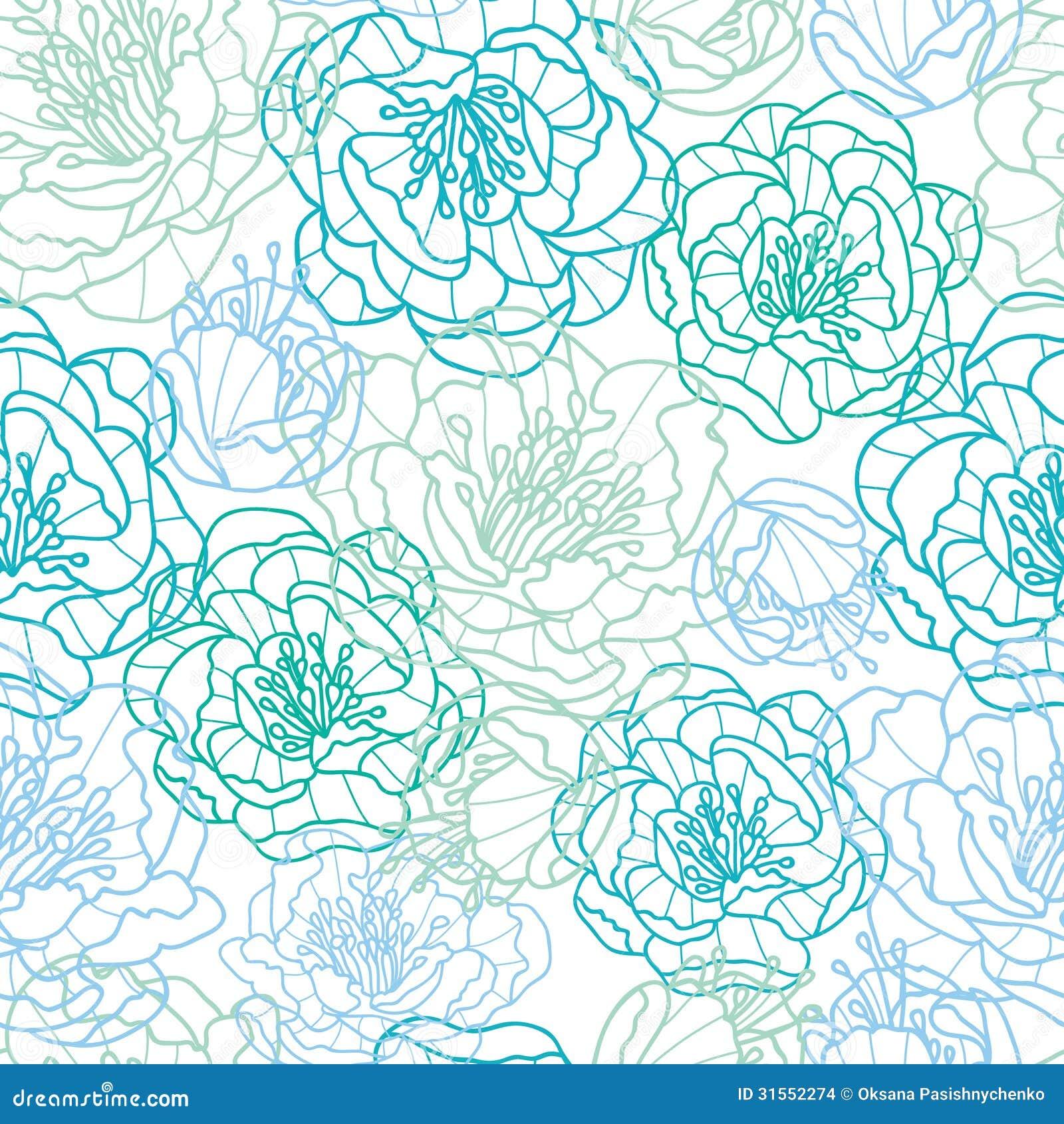 Vector Line Drawing Flower Pattern : Blue line art flowers seamless pattern background stock