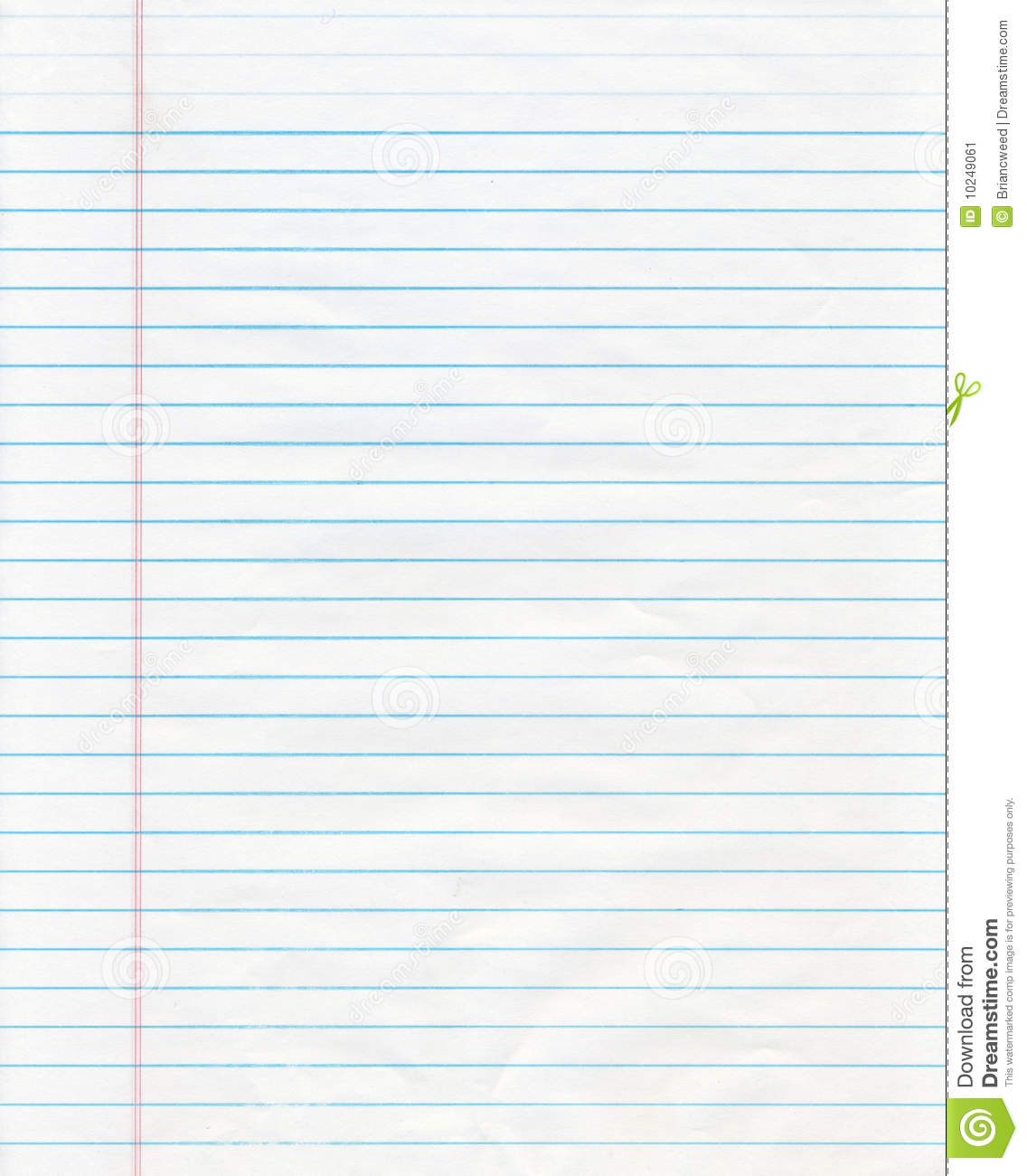 sheet of blue lined notebook paper, perfect to use as a background.