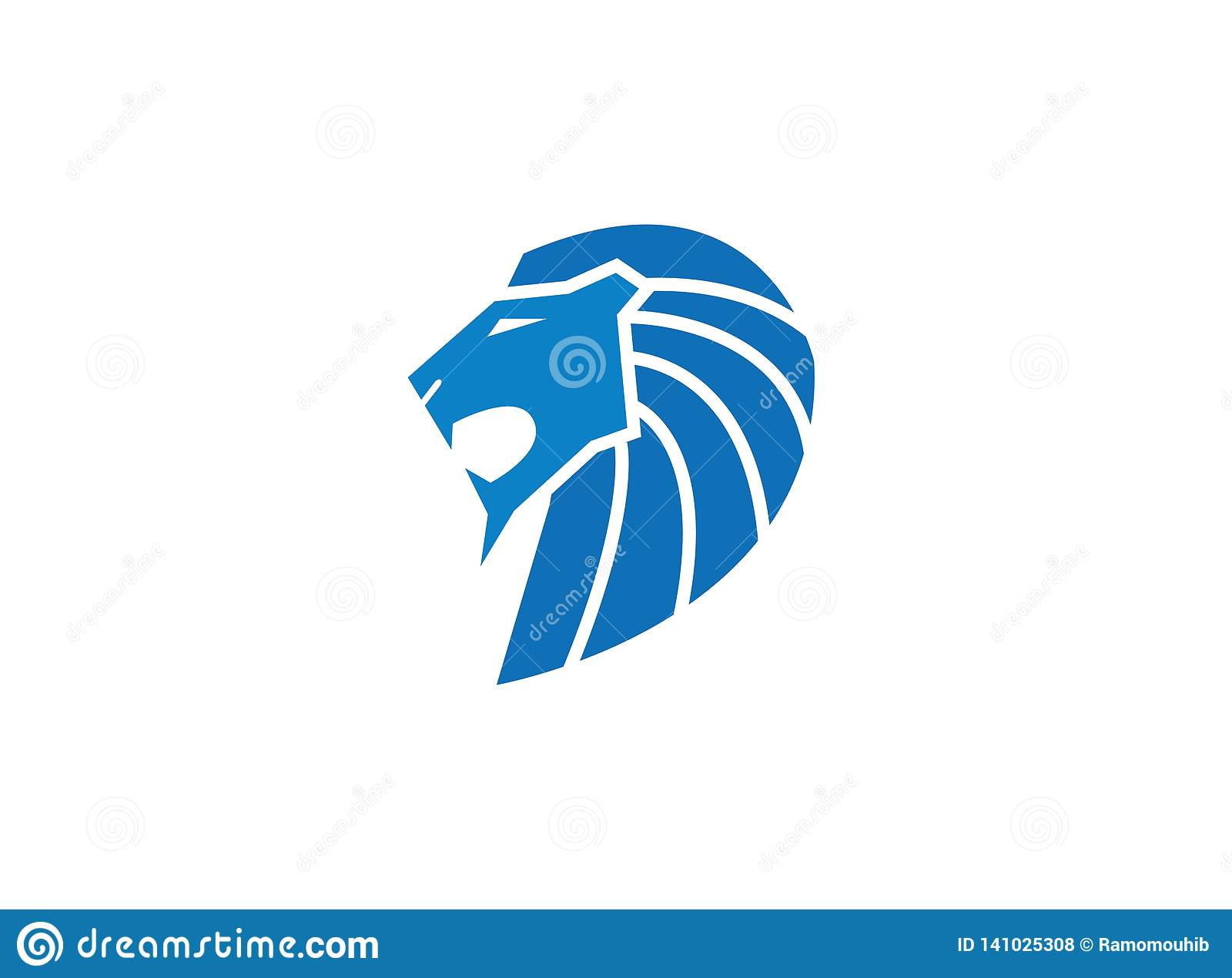 Blue lion head and face open mouth roaring for logo design illustration