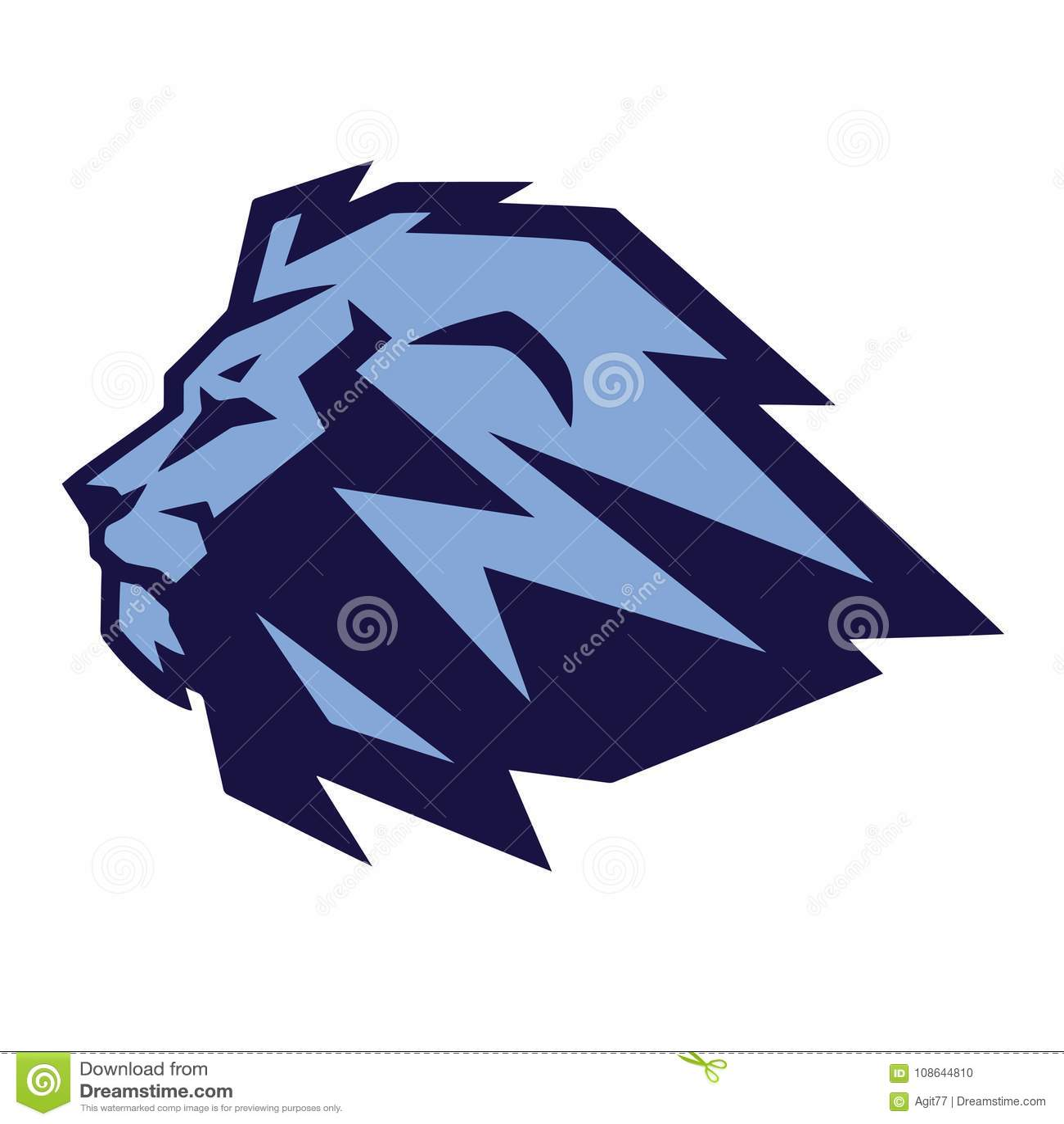 blue lion vector mascot design template stock vector illustration