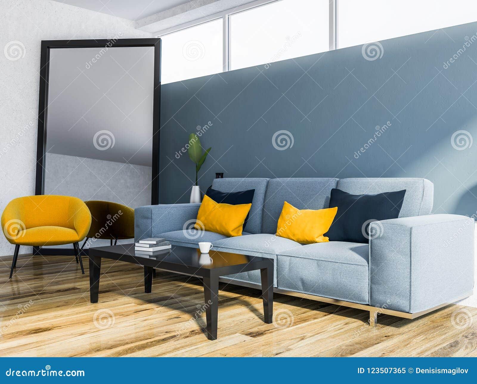 Blue Living Room, Blue Sofa, Armchair, Mirror Stock Illustration ...