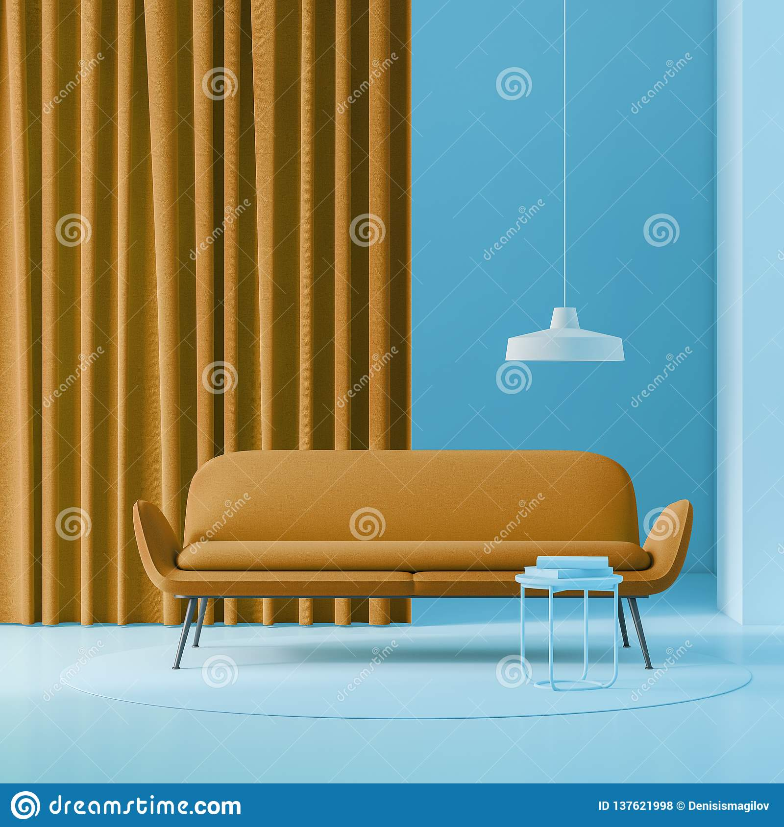 Blue Living Room With Brown Sofa Stock Illustration Illustration Of Contemporary Hardwood 137621998