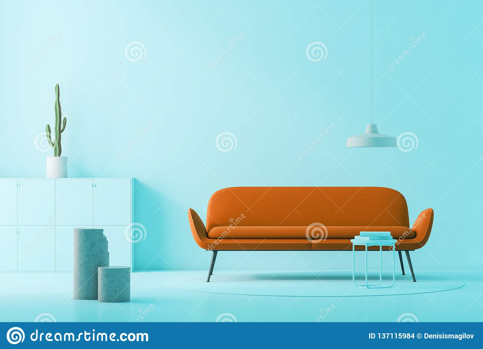 Remarkable Blue Living Room Brown Sofa Stock Illustration Onthecornerstone Fun Painted Chair Ideas Images Onthecornerstoneorg