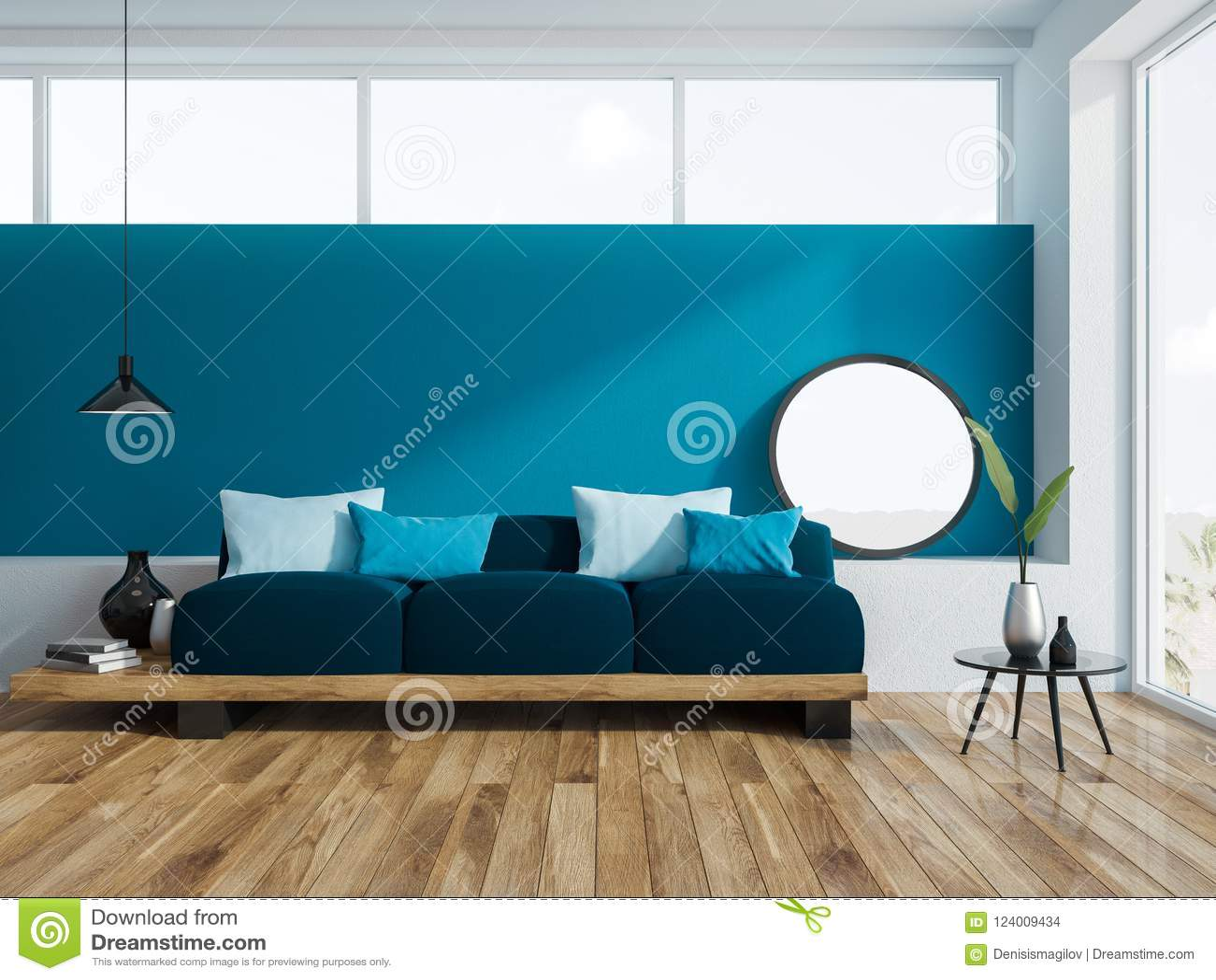 Awe Inspiring Blue Sofa Navy Cushions In Blue Living Room Stock Creativecarmelina Interior Chair Design Creativecarmelinacom