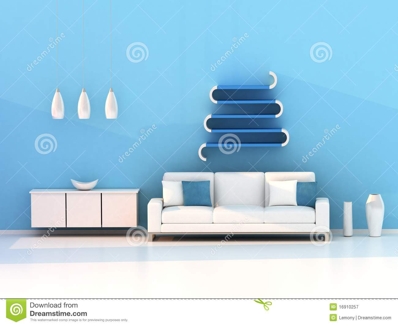 Blue Modern Living Room Royalty Free Stock Photos - Image: 9483188