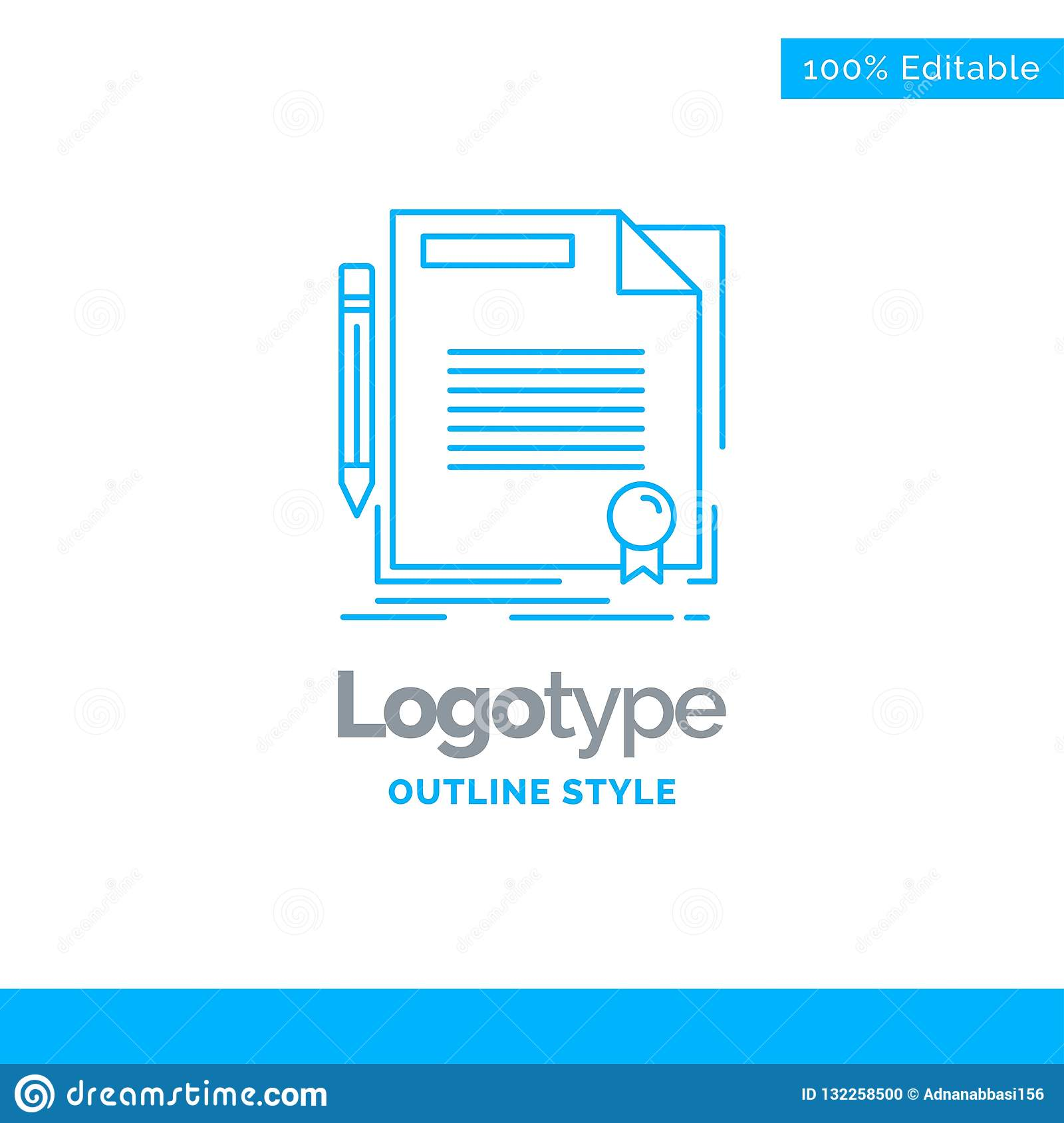 blue logo design for agreement contract deal document paper