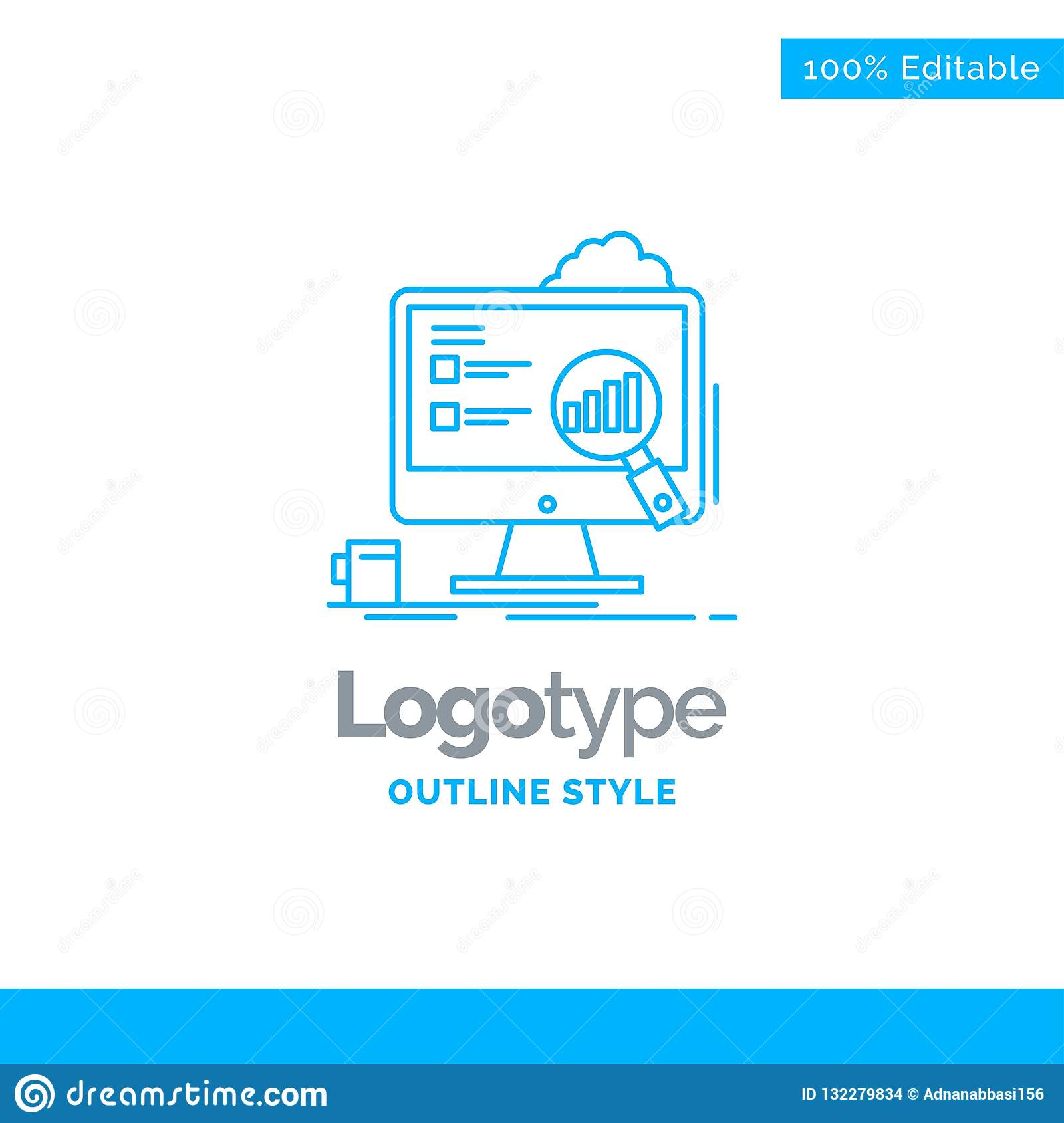 Blue Logo Design For Analytics, Board, Presentation, Laptop