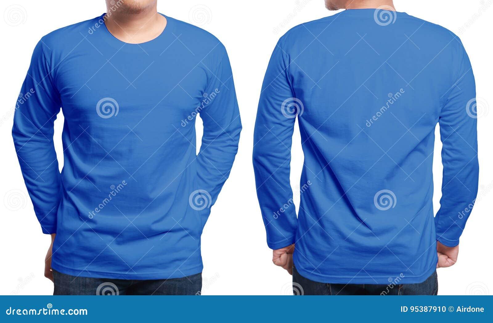 Blue Long Sleeved Shirt Design Template