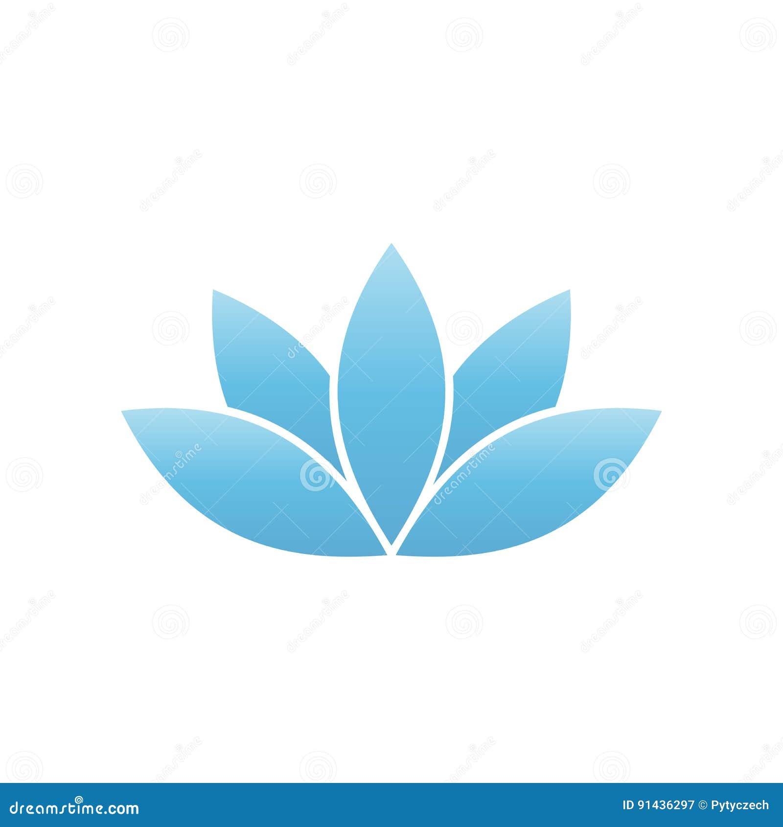 Blue lotus symbol. Spa and wellness theme design element. Vector illustration