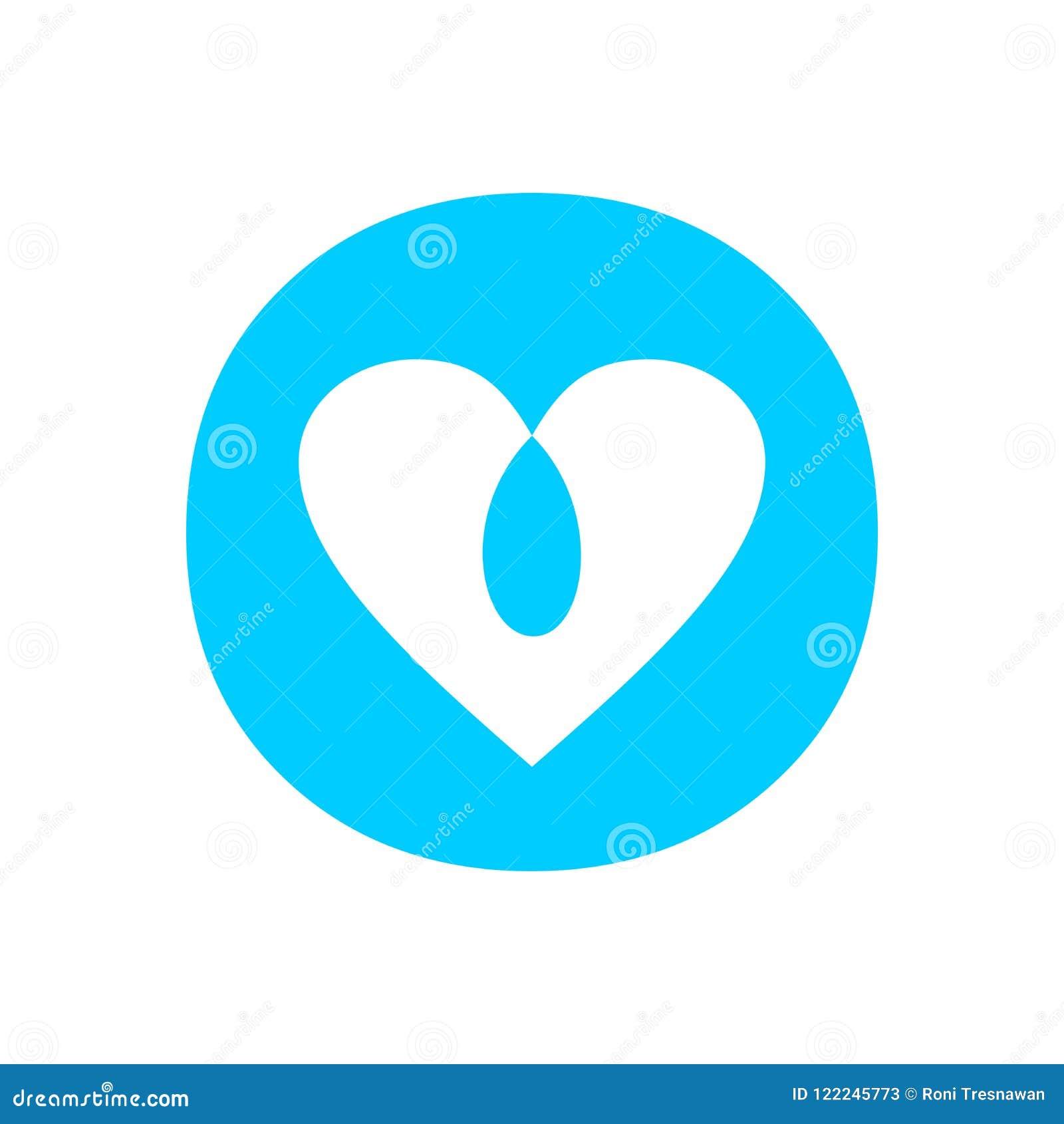 Blue Love Intersection Circle Symbol Design Stock Vector