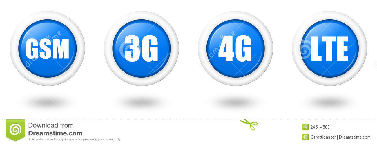 Blue Lte 4g 3g And Gsm Telecommunication Icon Se Stock