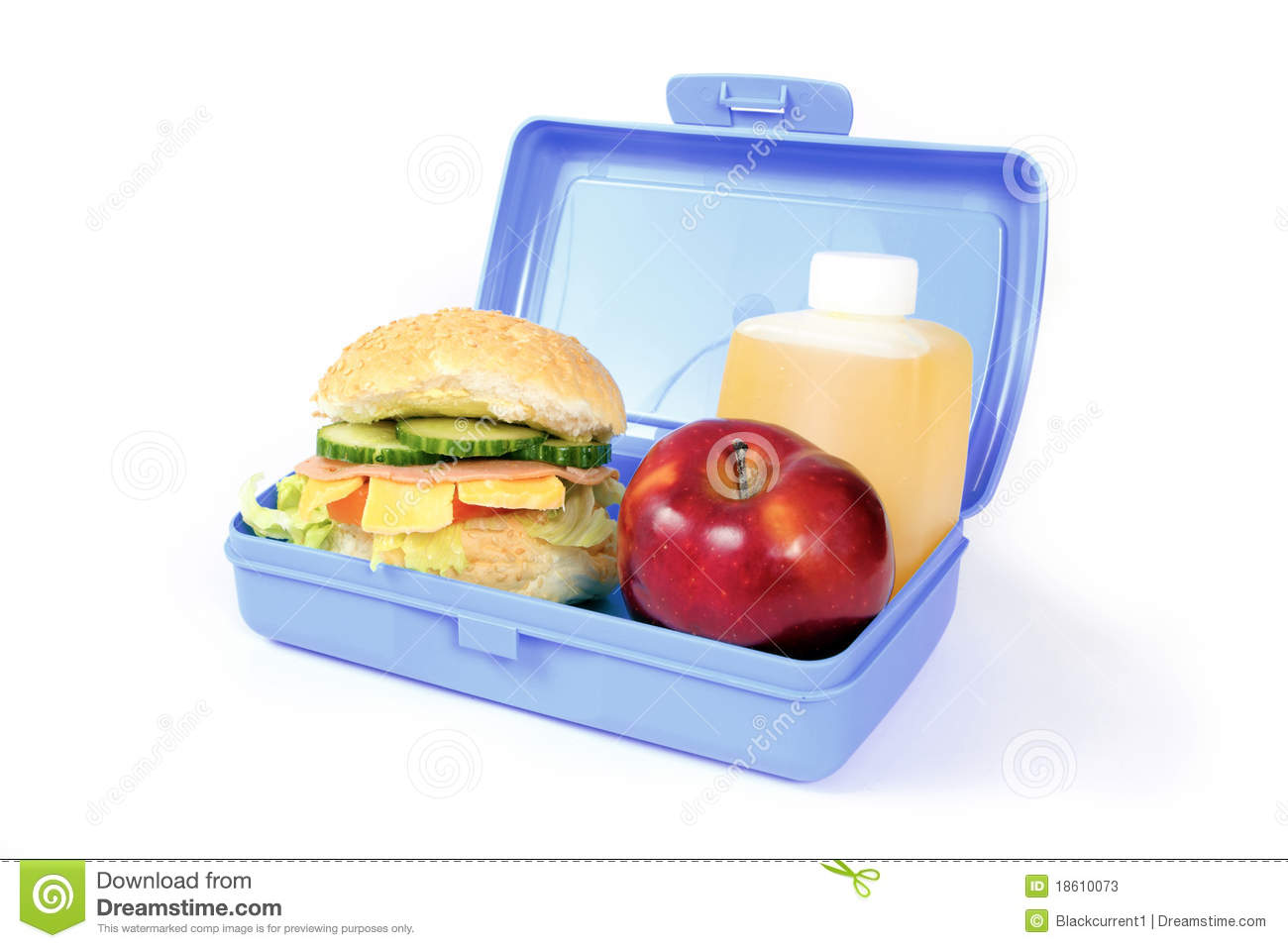 Blue lunch box with a hamburger, red apple and orange drink.