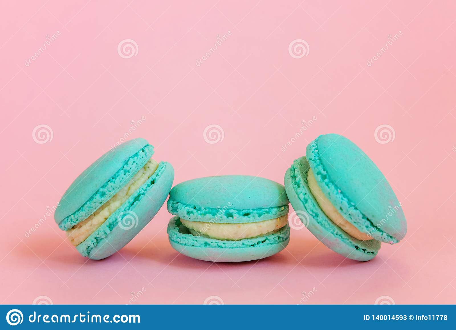 Blue Macaron On Pink Background Stock Image Image Of Cake Gift 140014593