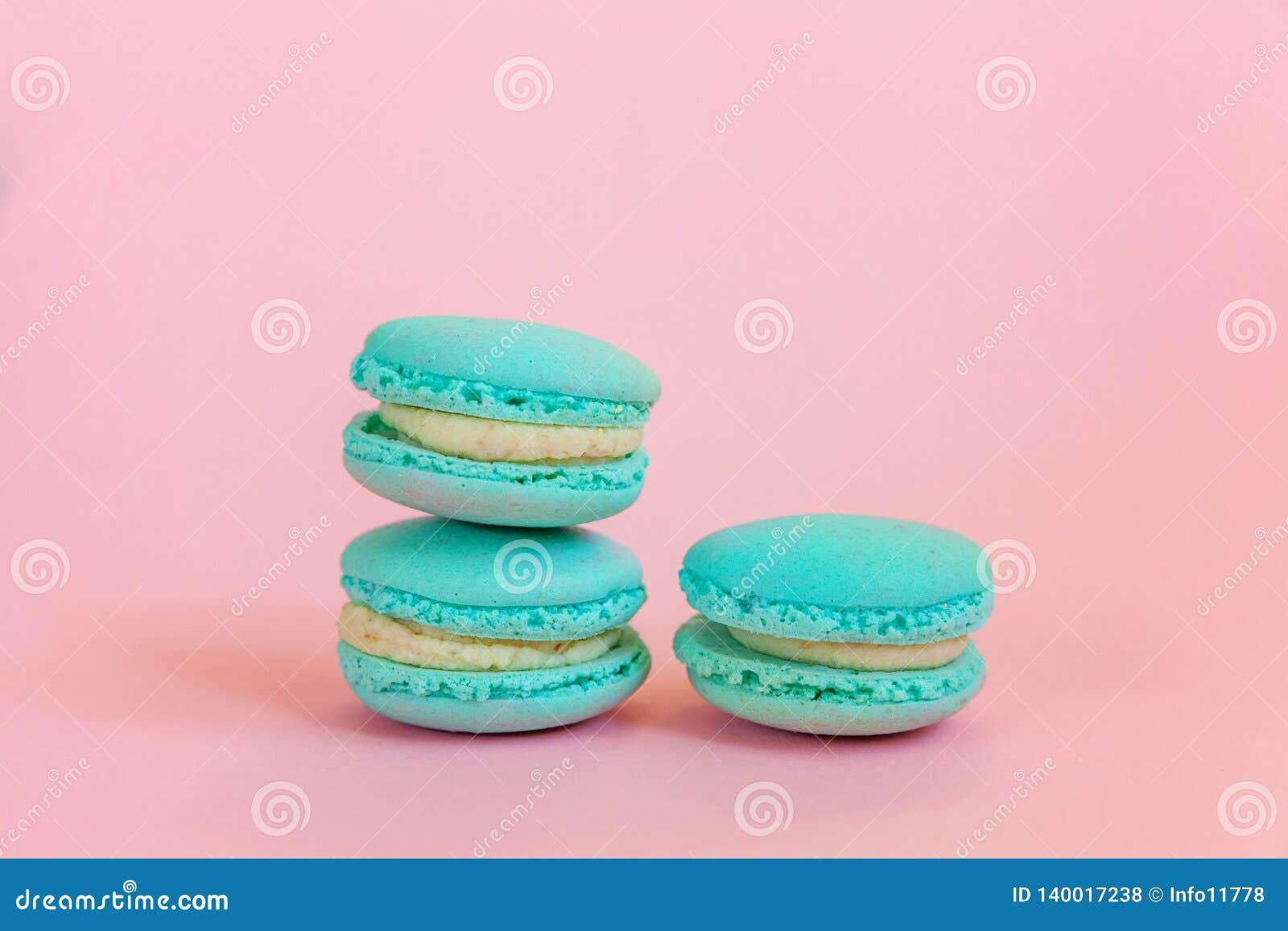 Blue Macaron On Pink Background Stock Photo Image Of Bakery Bake 140017238
