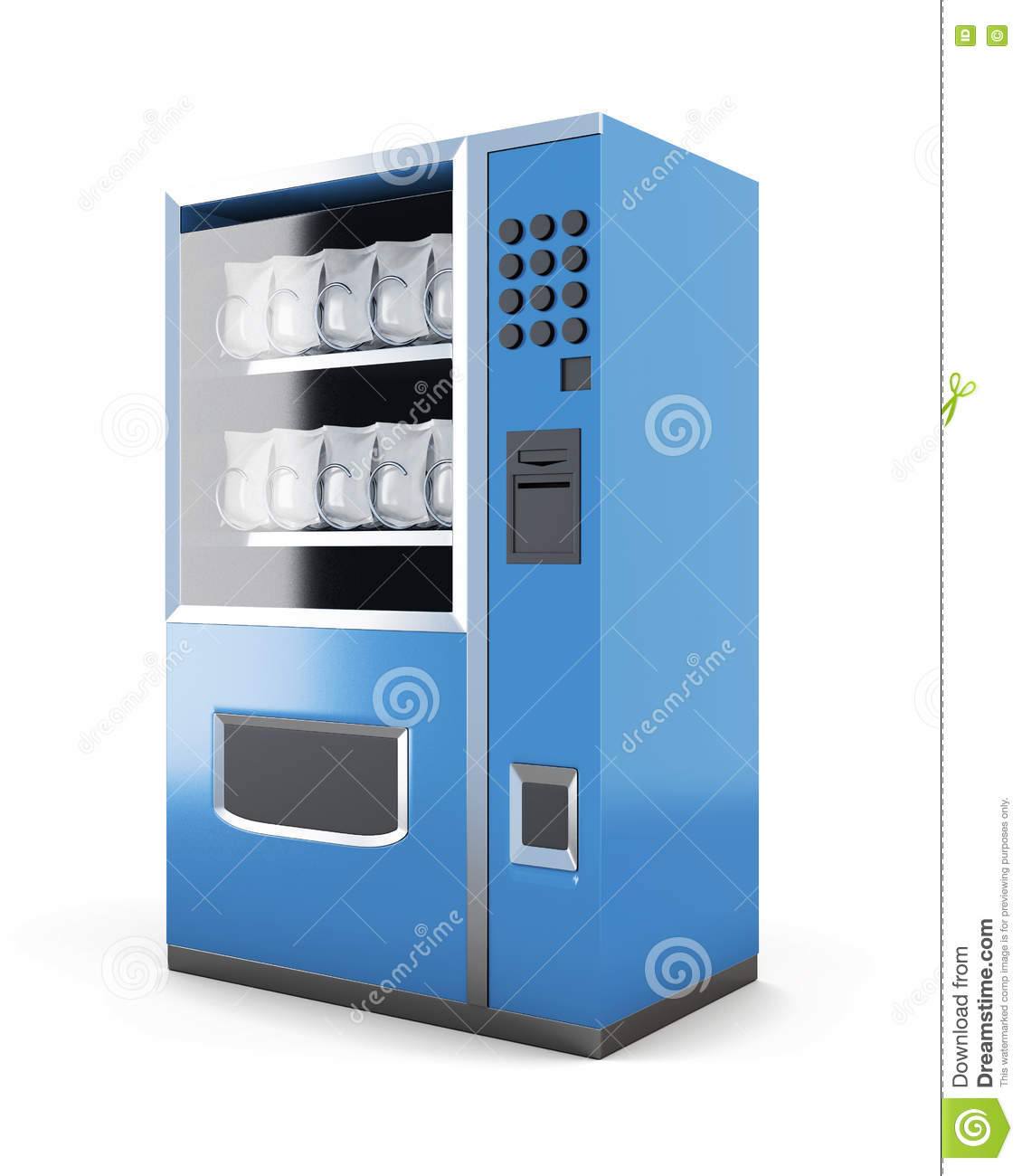 Blue machine for sale of snacks isolated on white background. 3d
