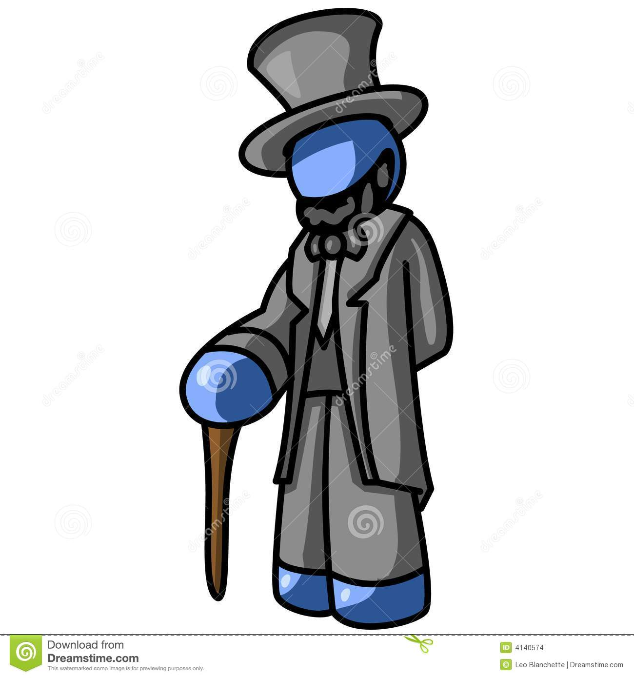 Blue Man Abe Lincoln Stock Vector Illustration Of Cane 4140574