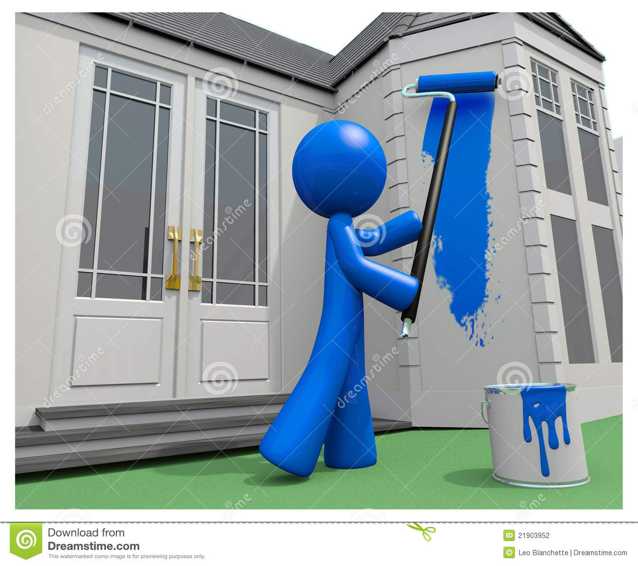 Blue Man Painting His House With Paint Roller Stock