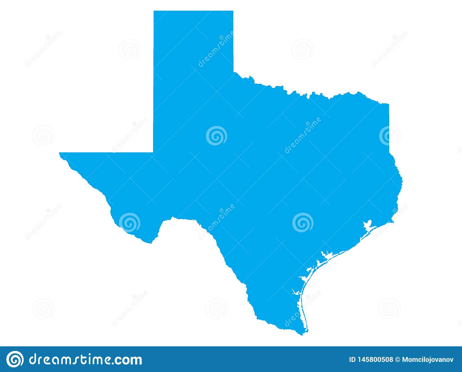 Blue Map Of US State Of Texas Stock Vector - Illustration of ...