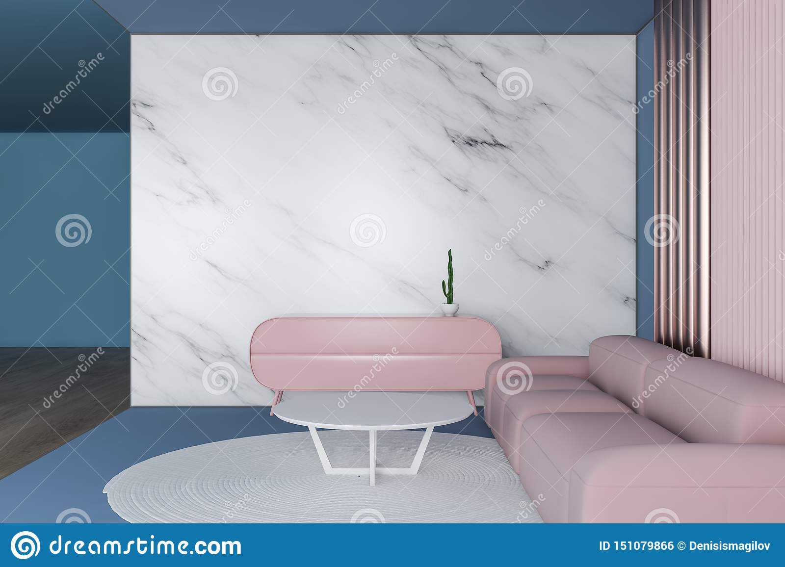 Blue Marble And Pink Living Room Stock Illustration Illustration Of House Copy 151079866