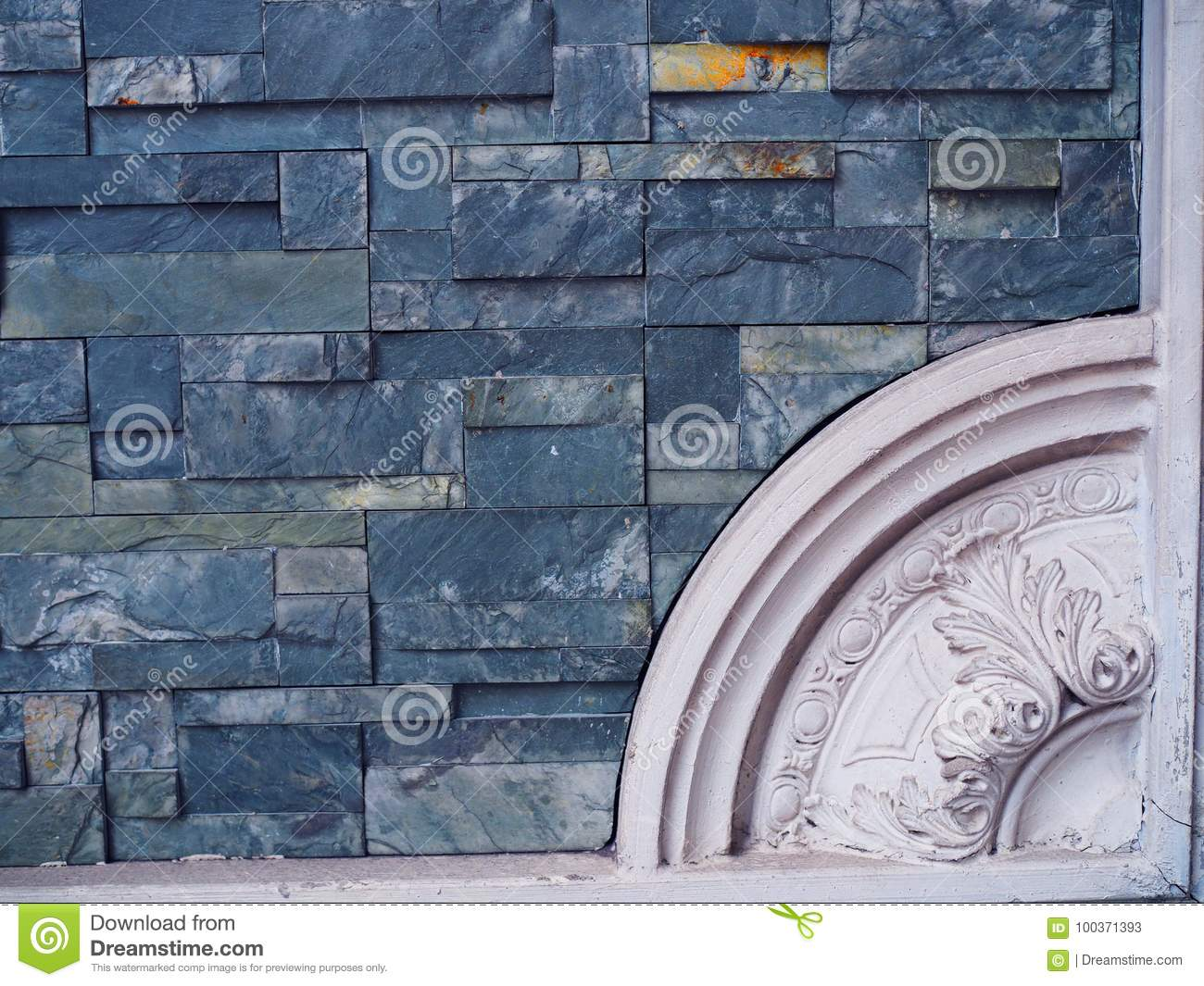 Blue Marble Stone Small Tile Wall With White Roman Style Corner ...
