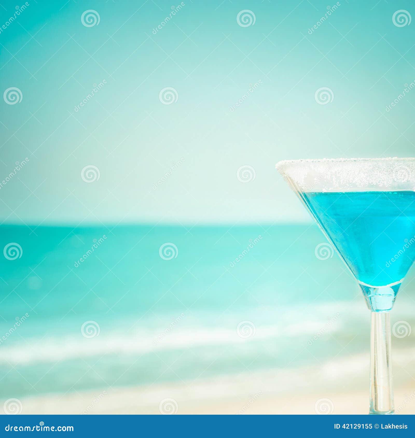 Blue Margarita Cocktail At Tropical Ocean Beach Stock ...