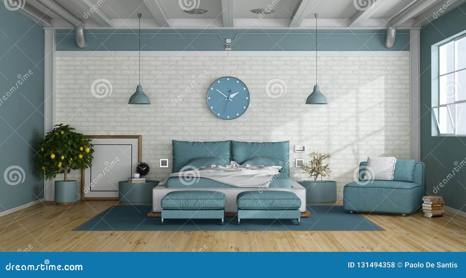 Blue Master Bedroom In A Loft Stock Illustration ...