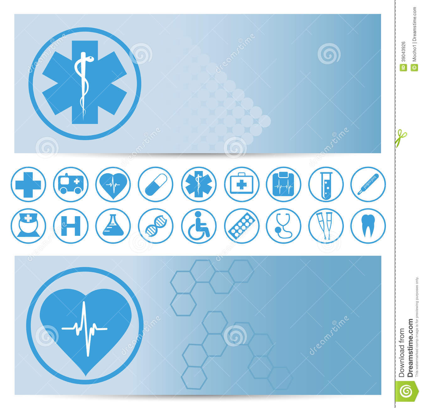 Blue Medical Banners With Icons Stock Vector Illustration Of Health Nurse 39043926