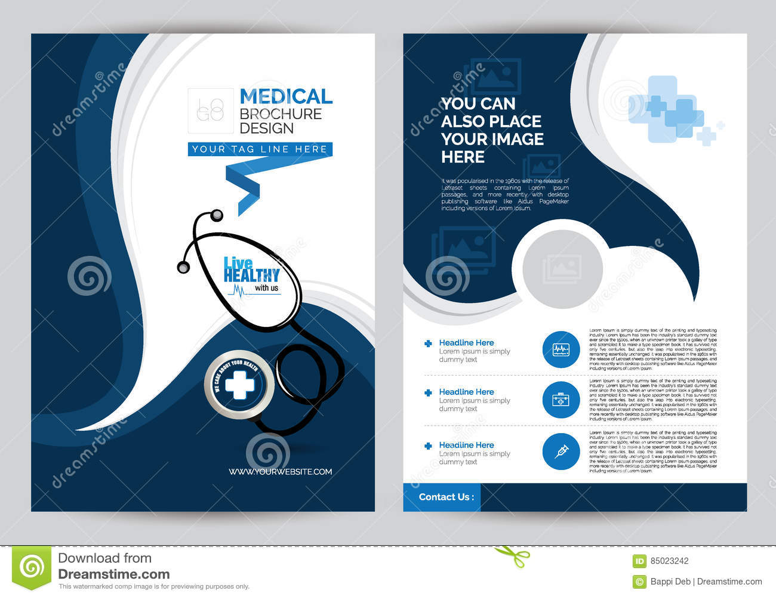 blue a4 medical brochure stock vector  illustration of