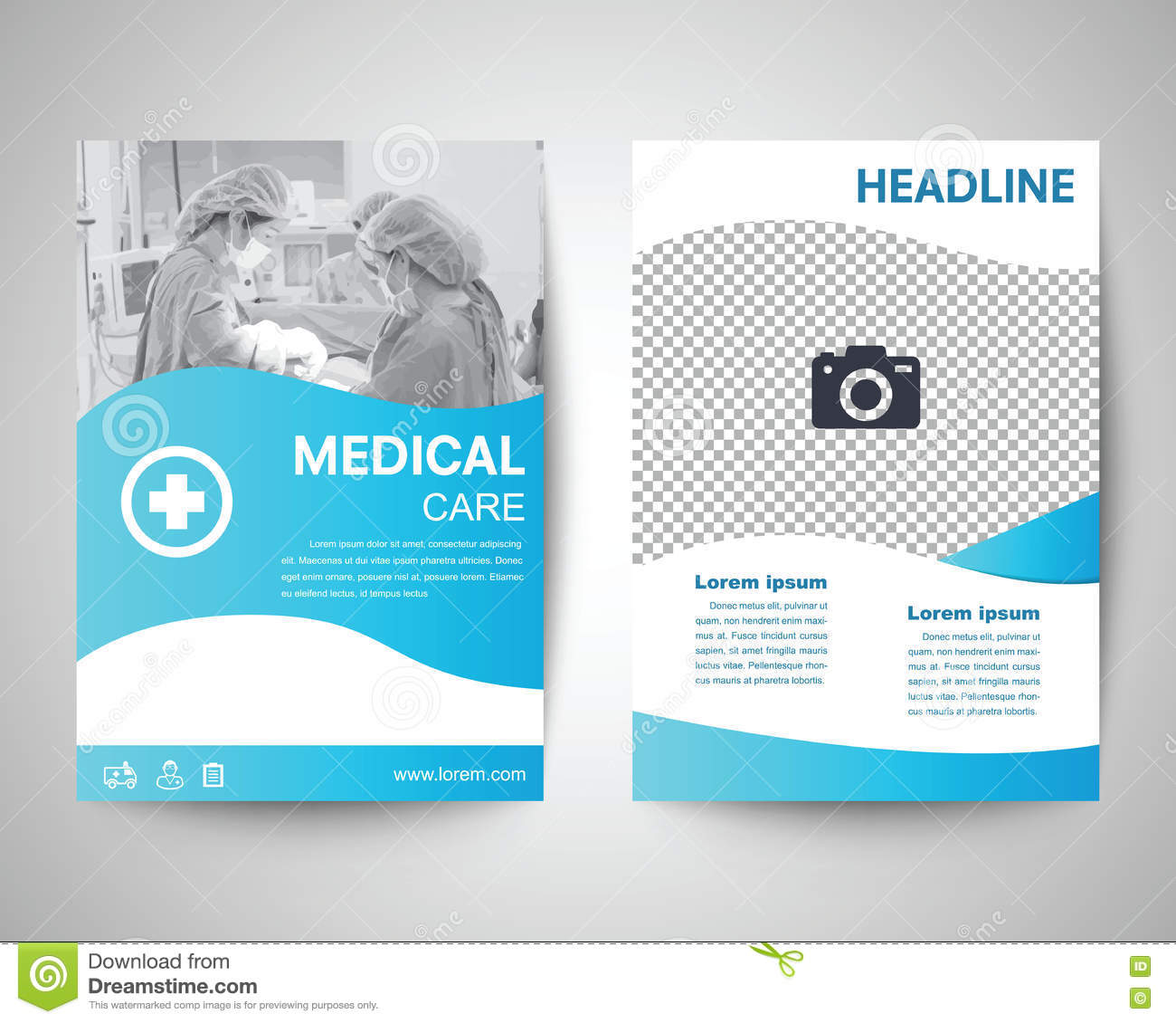 blue medical flyer a4 template stock vector illustration of